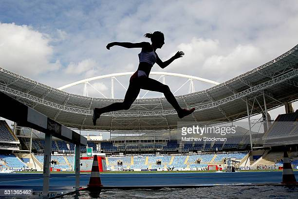 Zulema Arenas of Peru competes in the women's 3000 meter steeplechase during the Ibero American Athletics Championships Aquece Rio Test Event for the...