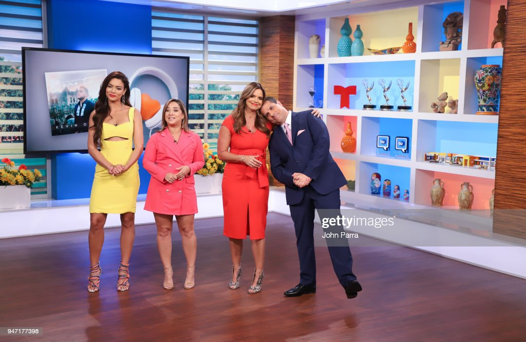 Zuleyka Rivera, Adamari Lopez, Rashel Diaz and Marco Antonio Regil are seen at Telemundo's 'Un Nuevo Dia' on April 16, 2018 in Miami, Florida.