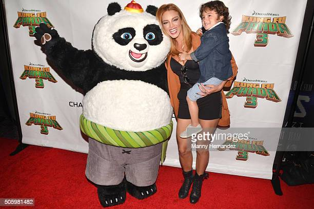 Zuleyka Rivera and son attends Kung Fu Panda 3 Screening at Aventura Mall on January 16 2016 in Miami Florida