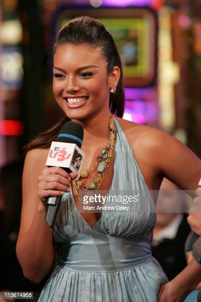 Zuleyka Rivera Miss Universe 2006 during Miss Universe Zuleyka Rivera Tony Sunshine and Lumidee Visit MTV's 'Mi TRL' Airing April 19 2007 at MTV...