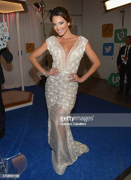 Zuleyka Rivera poses backstage at Premio Lo Nuestro a la Musica Latina 2014 at American Airlines Arena on February 20 2014 in Miami Florida