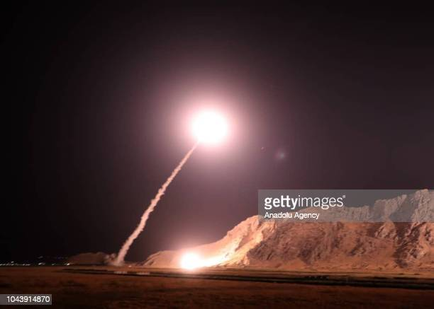 Zulfiqar and Qiam ballistic missiles targeting Syria are launched by Irans Revolutionary Guard in Kermanshah Iran on October 01 2018 Missiles were...
