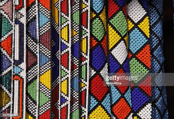 zulu beads of south africa - south african culture stock photos and pictures