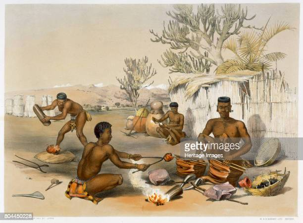 Zulu blacksmiths at work 1849 Plate 23 from The Kafirs Illustrated by George French Angas Artist George French Angas