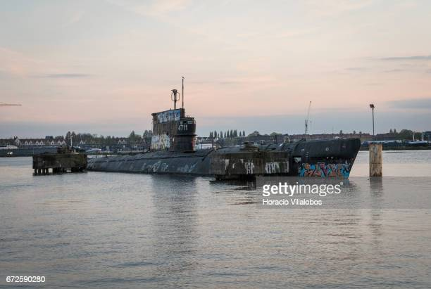 Zulu Class Russian submarine at dusk moored at NDSM on April 19, 2017 in Amsterdam, Netherlands. The Soviet Project 611 or Zulu V class submarine...