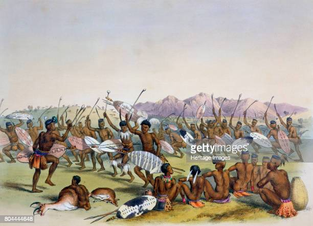 Zulu Hunting Dance near the Engooi Mountains' 1849 Plate 14 from The Kafirs Illustrated 1849 Artist George French Angas