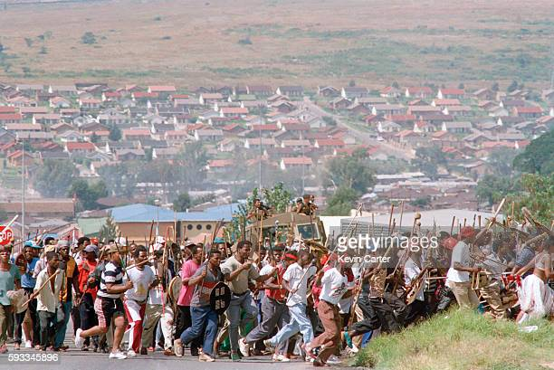 Zulu Impi toyitoying in Alexandra township They are heading to Orlando Stadium to hear Buthelezi speak at an Inkatha Freedom Party rally