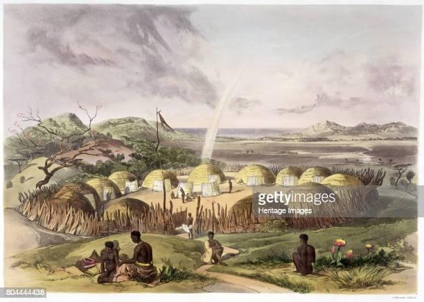Zulu Kraal near Umlazi Natal' 1849 Plate 27 from The Kafirs Illustrated 1849 Artist George French Angas