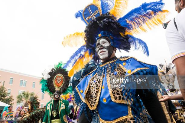 zulu krewe parade new orleans mardi gras celebration louisiana usa - mardi gras new orleans stock photos and pictures