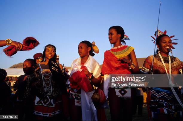 Zulu princesses dance at the Royal Palace during the annual Reed Dance on September 11 2004 in Nongoma in rural Natal South Africa About 20000...