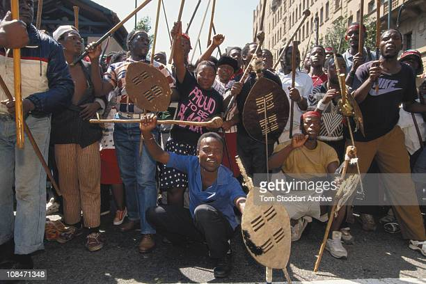 Zulu supporters of the Inkatha Freedom Party demonstrate in Johannesburg South Africa in the run up to the country's first General Election to be...