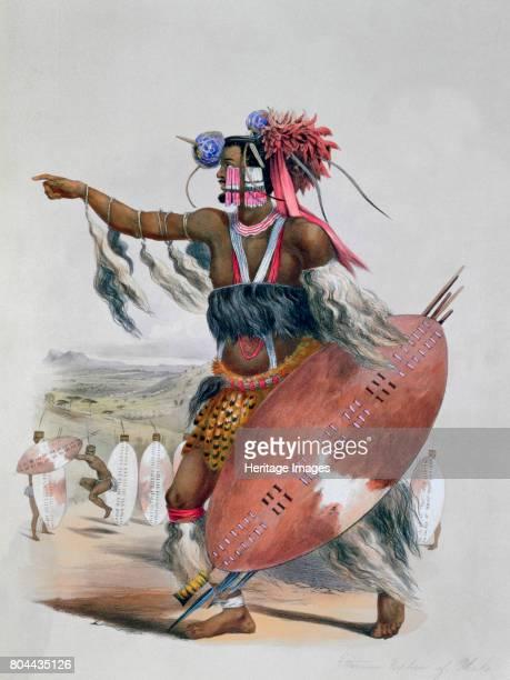 Zulu Warrior Utimuni Nephew of Chaka the Late Zulu King' 1849 Plate 13 from The Kafirs Illustrated 1849