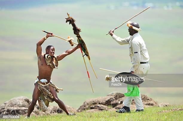 Zulu Warriors showing their respect following Madiba's State Funeral on December 15 2013 in Qunu South Africa Nelson Mandela passed away on the...