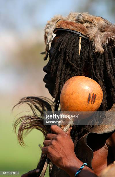 zulu witch doctor 2 - african witch doctor stock photos and pictures