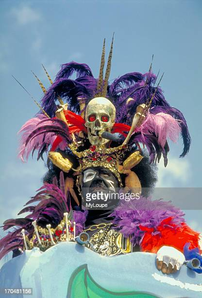 Zulu Witch Doctor on a float in the Zulu Parade during Mardi Gras in New Orleans Louisiana Zulu Krewe represents New Orleans' rich African American...
