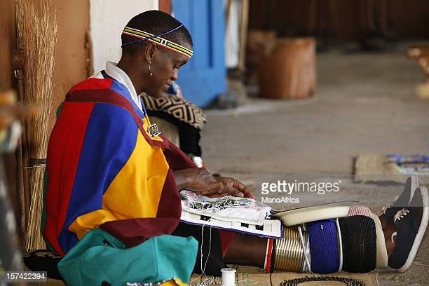 zulu woman beading - zulu women stock pictures, royalty-free photos & images