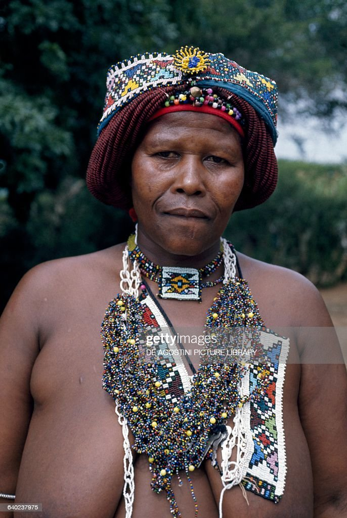 Zulu Woman With Beaded Hairstyle And Jewelry, Natal, South -2250