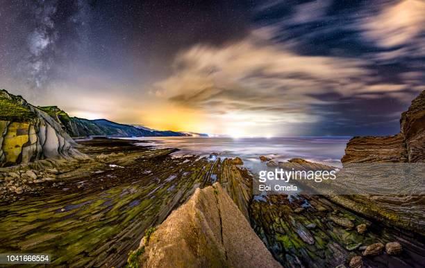 Costa del flysch de Zumaia por la noche con la vía Láctea. País Vasco