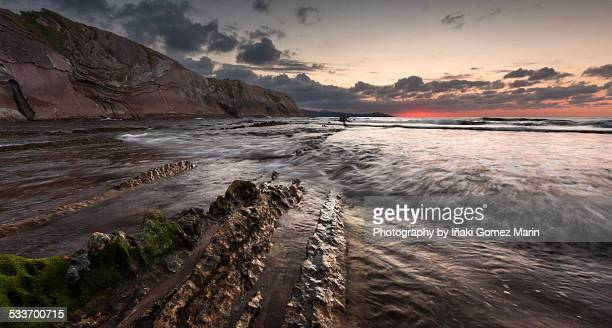 zumaia flysch - nightjar stock photos and pictures