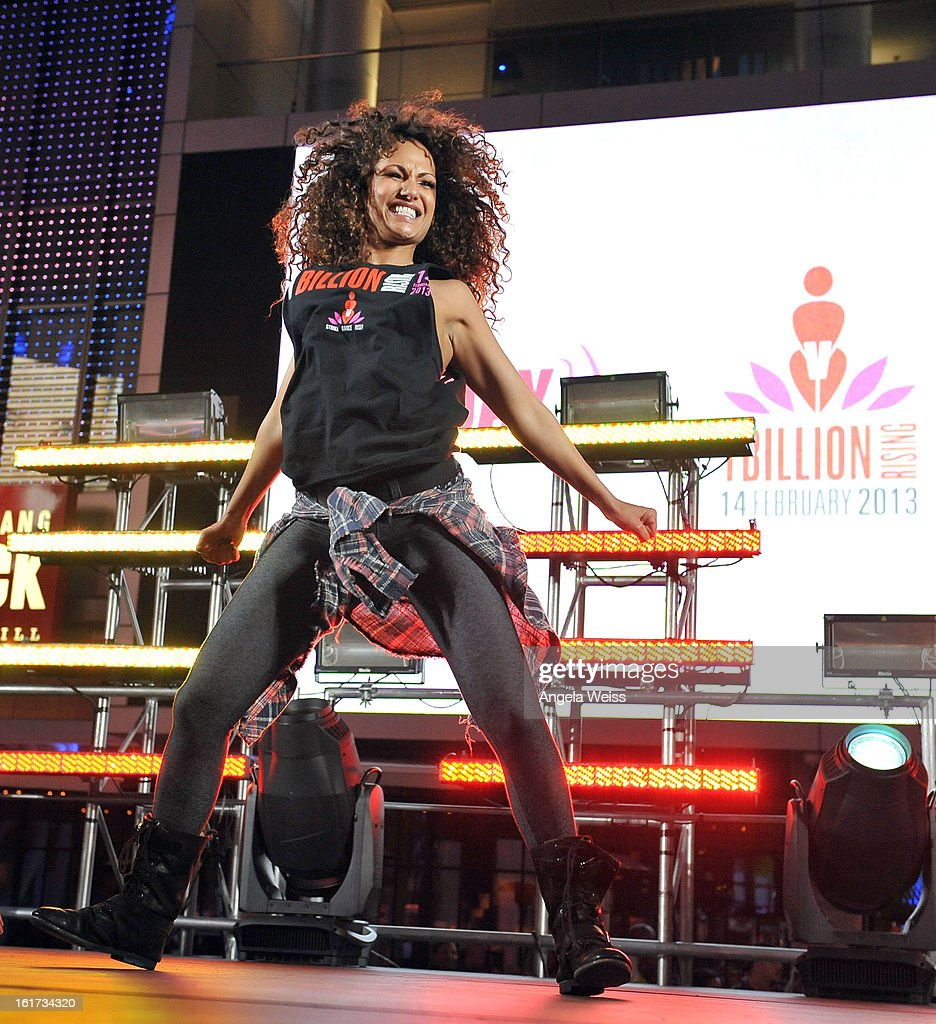 Zumba celebrity instructor Gina Grant attends One Billion Rising-Rise with V-Day and Zumba Fitness, One Billion Rising, a Global Day of Action to End Violence against Women and celebrate V-Day's 15th Anniversary at LA Live on February 14, 2013 in Los Angeles, California.