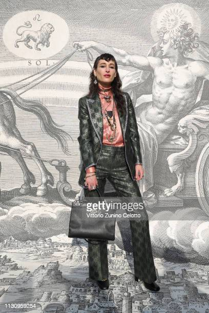 Zumi Rosow arrives at the Gucci show during Milan Fashion Week Autumn/Winter 2019/20 on February 20 2019 in Milan Italy