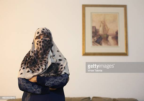 Zunera Ishaq woman who launched the legal challenge against Ottawa's niqab ban at citizenship oathtaking ceremony poses for pictures in her home