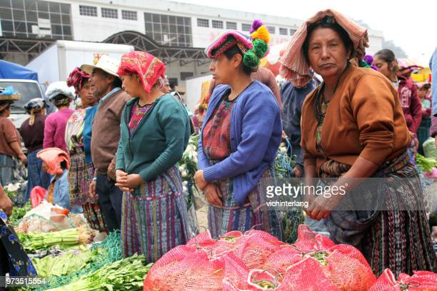 zunil, guatemala market day - mayan people stock photos and pictures