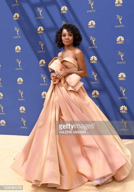 Zuri Hall arrives for the 70th Emmy Awards at the Microsoft Theatre in Los Angeles California on September 17 2018
