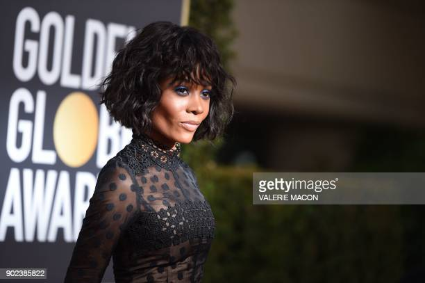 TOPSHOT Zuri Hall arrives for the 75th Golden Globe Awards on January 7 in Beverly Hills California / AFP PHOTO / VALERIE MACON