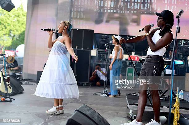 Zuri Marley and Dev Hynes of Blood Orange performs onstage at the 2016 Panorama NYC Festival Day 2 at Randall's Island on July 23 2016 in New York...