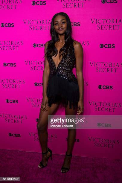 Zuri Tibby attends the 2017 Victoria's Secret Fashion Show viewing party pink carpet at Spring Studios on November 28 2017 in New York City