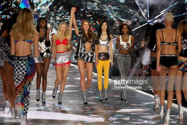 Zuri Tibby Josie Canseco Alanna Walton Estelle Chen and Isilda Moreira walk the runway in the 2018 Victoria's Secret Fashion Show at Pier 94 on...