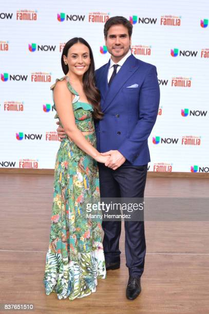 Zuria Vega and Daniel Arenas at the Press Conference for new soap opera Mi Marido Tiene Familia at Univision Studios on August 21 2017 in Doral FL