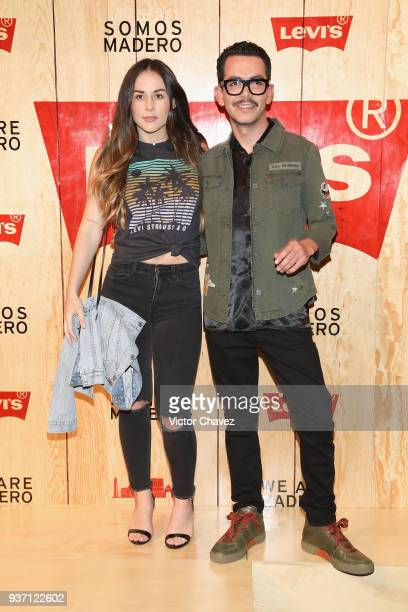 Zuria Vega and Manolo Caro attend the Levi's Flagship Madero store opening at historical center streets on March 22 2018 in Mexico City Mexico