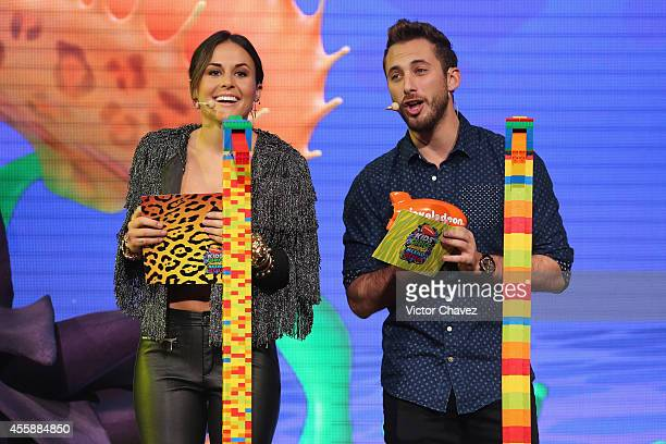Zuria Vega and Sebastián Zurita speak onstage during the Nickelodeon Kids' Choice Awards Mexico 2014 at Pepsi Center WTC on September 20 2014 in...