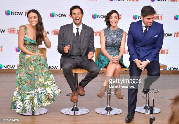 Zuria Vega Jose Pablo Minor Laura Vignatti and Daniel Arenas at the Press Conference for new soap opera Mi Marido Tiene Familia at Univision Studios...
