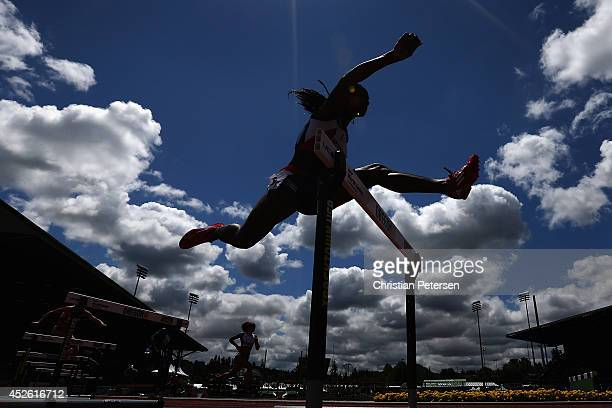 Zurian Hechavarría of Cuba competes in the women's 400m hurdles heats during day three of the IAAF World Junior Championships at Hayward Field on...