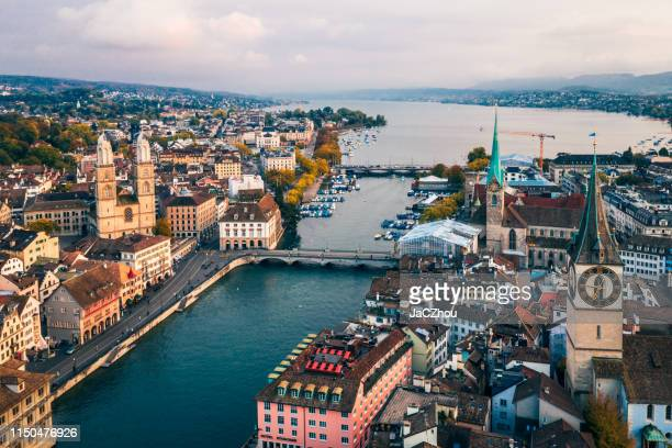 zurich aerial view - zurich stock pictures, royalty-free photos & images