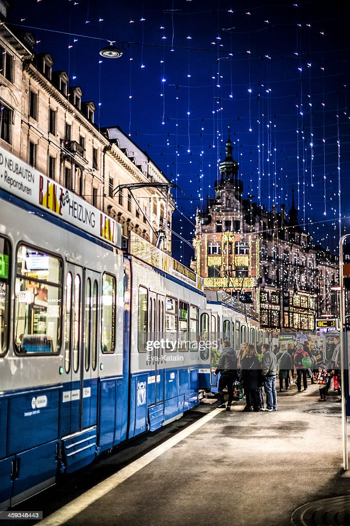 Zurich Bahnhofstrasse With Christmas Lights Stock Photo
