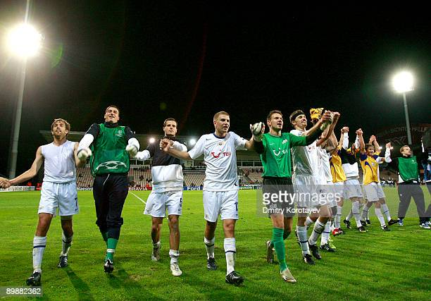 Zurich celebrate after their victory over FK Ventspils during the UEFA Champions League qualifying match between FK Ventspils and FC Zurich at the...