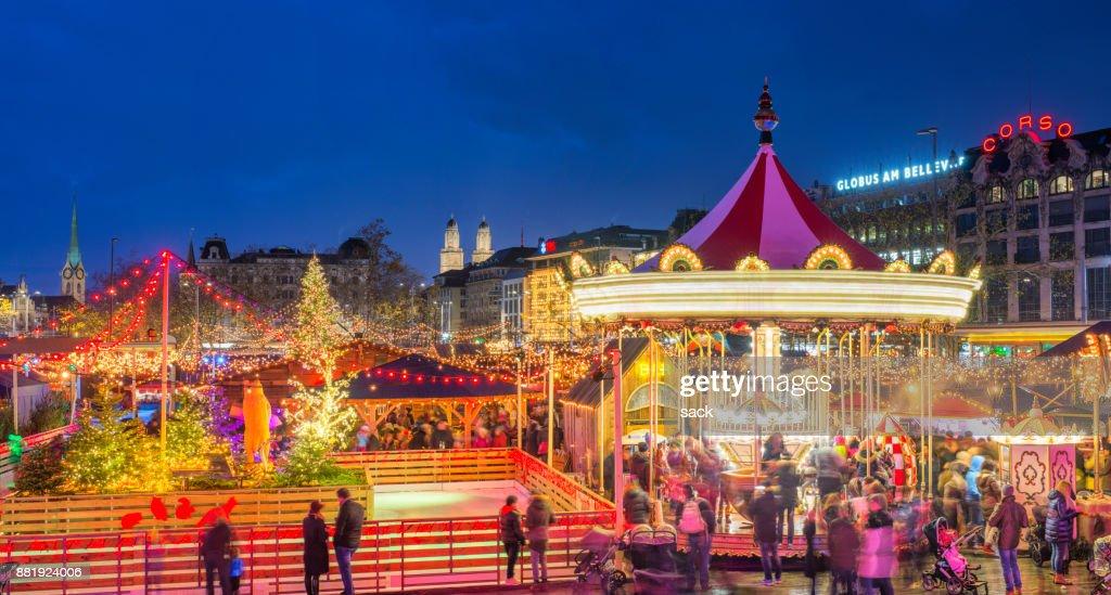 zurich christmas market at bellevue and sechselutenplatz stock photo