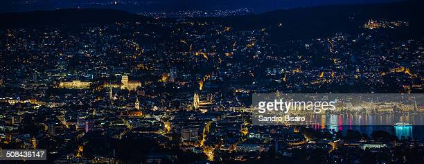 Zurich City Downtown Panorama at Night
