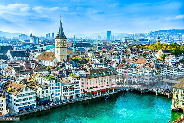 zurich cityscape, switzerland - switzerland stock pictures, royalty-free photos & images