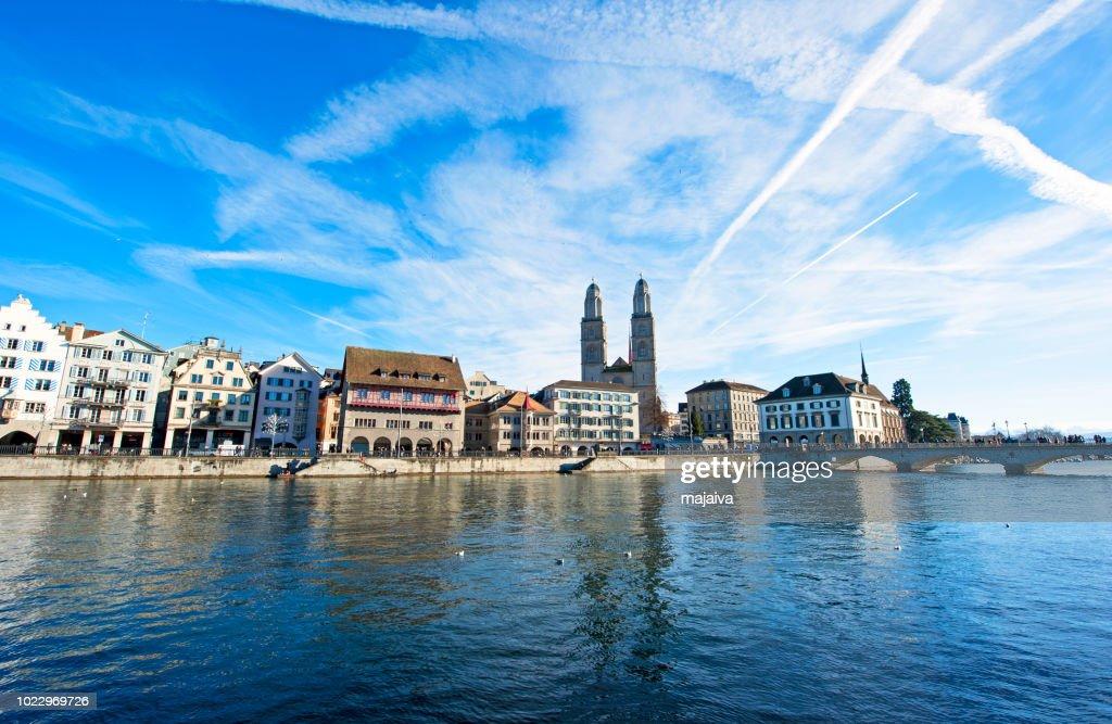Zurich cityscape with Grossmuenster church, Switzerland : Stock Photo