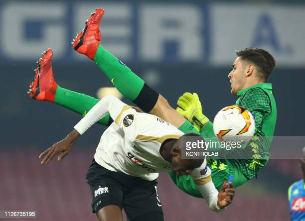 STADIUM NAPLES CAMPANIA ITALY Zurich Gambian forward Assan Ceesay and Napoli's Italian goalkeeper Alex Meret vies for the ball during the UEFA europa...