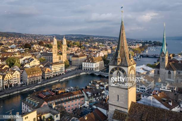 zurich old town aerial view - zurich stock pictures, royalty-free photos & images