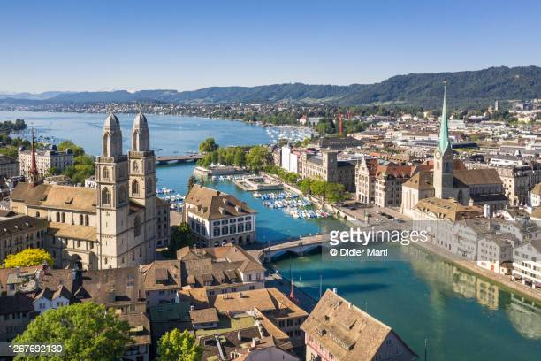 zurich old town by the limmat river on a sunny summer day in switzerland largest city - national landmark stock pictures, royalty-free photos & images