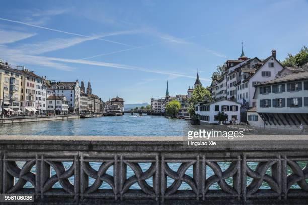 Zurich old town city skyline over Limmat River, Switzerland