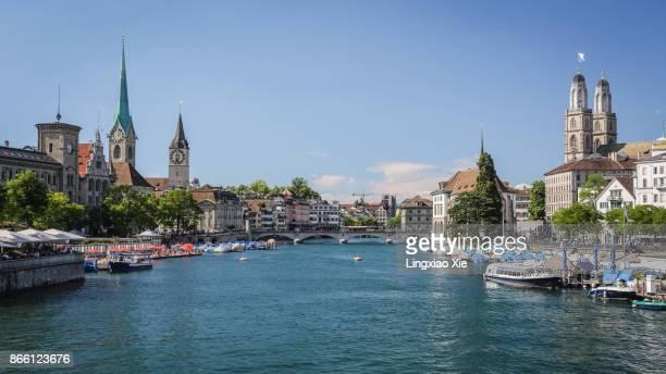 Zurich old town urban skyline with Limmat River, Switzerland