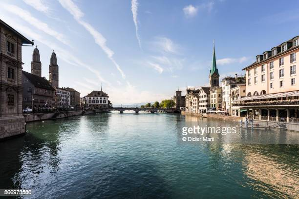 Zurich old town with the Limmat river in Switzerland